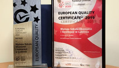 """WSEI otrzymała """"European Quality Certificate 2019"""""""